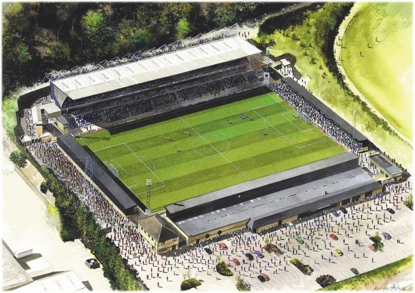 "Watercolour of Adams Park, home of Wycombe Wanderers F.C. 1990 - current day. Stadium capacity 10, 000. Original Painting size 20"" x 16"" by Kevin Fletcher"