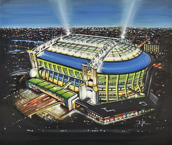 "Oil painting of the Amsterdam Arena, home of AFC Ajax Netherlands, 1996 - current day. Capacity 53, 052. Original painting size 22""x18"" created in 2013 by DJ Rogers"