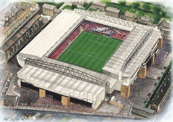 "Watercolour of Anfield, home of Liverpool F.C., 1892 - current day. Stadium capacity 45, 525. Original painting size 20"" x 16"", created in 1997 by Kevin Fletcher"