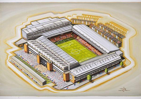 "Oil painting of Anfield, home of Liverpool F.C., 1892 - current day. Stadium capacity 45, 525. Original painting size 22"" x 18"", created by D.J.Rogers in 2013"