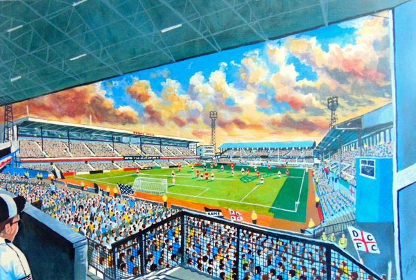 Baseball Ground Stadium Fine Art, former home of Derby County Football Club. At the Game painted in fine detail by the talented artist James Muddiman captures the atmosphere of Match day perfectly