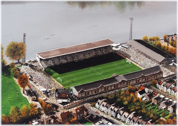 "Oil painting of Craven Cottage, home of Fulham F.C., 1896 - current day. Stadium capacity 25, 700. Original painting size 20"" x 16"" created by Kevin Fletcher"