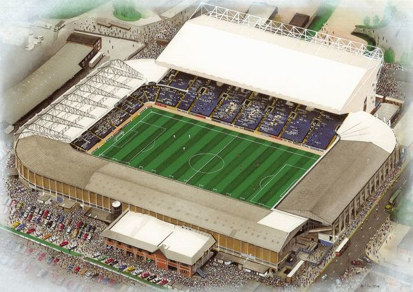 "Watercolour painting of Elland Road, home of Leeds United A.F.C., 1919 - current day. Stadium capacity 39, 460. Original painting size 20"" x 16"" created in 1999 by Kevin Fletcher"
