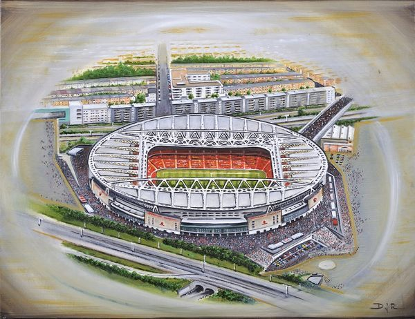 "Oil painting of Emirates Stadium, home of Arsenal F.C., 2006 - current day. Stadium capacity 60, 361. Original painting size 22"" x 18"" created in 2012 by D.J.Rogers"