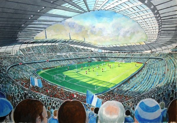 Etihad Stadium Fine Art, home of Manchester City Football Club. At the Game painted in fine detail by the talented artist James Muddiman captures the atmosphere of Matchday perfectly