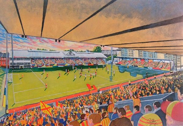Firhill Stadium Fine Art, home of Partick Thistle Football Club. At the Game painted in fine detail by the talented artist James Muddiman captures the atmosphere of Matchday perfectly