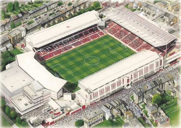 "Watercolour of Highbury, former home of Arsenal F.C., 1913 - 2006. Record Attendance 73, 295 v Sunderland 1935. Original Painting size 20"" x 16"" created in 1996 by Kevin Fletcher"