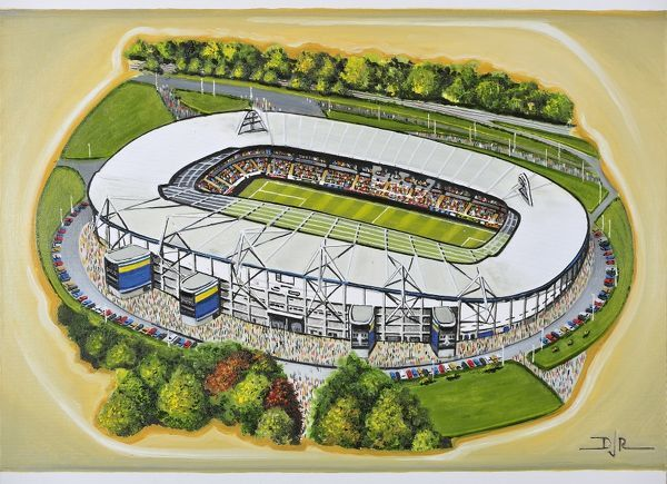 "Oil painting of the KC Stadium, home of Hull City A.F.C.& Hull F.C., 2002 - current day. Capacity 25, 586. Original painting size 22"" x 18"" created in 2013 by D.J.Rogers"