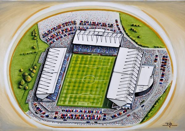 "Oil painting of Kassam Stadium, home of Oxford United F.C., 2001 - current day. Capacity 12, 500. Original painting size 22"" x 18"" created in 2012 by D.J.Rogers"