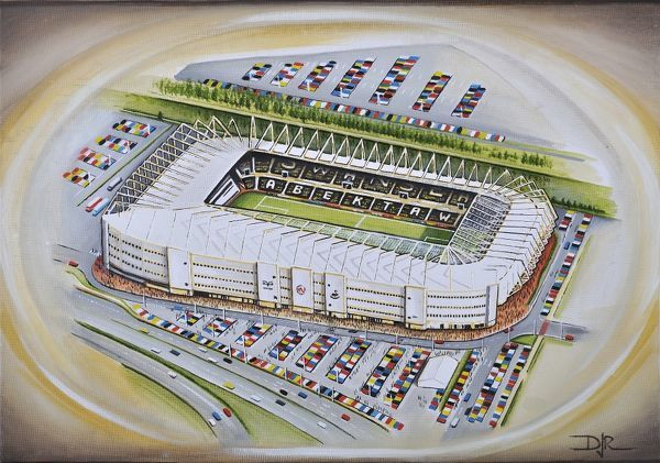 "Oil painting of the Liberty Stadium, home of Swansea City F.C., 2005 - current day. Capacity 20, 750. Original painting size 22"" x 18"" in 2012 by D.J.Rogers"