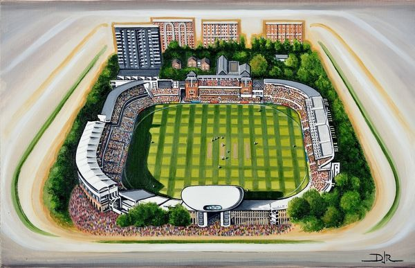 Oil painting of Lords Cricket Ground, home of Marylebone Cricket Club(MCC), Middlesex County Cricket Club, England & Wales Cricket Board, European Cricket Council and considered to be the home of Cricket. Original painting created in 2012 by D