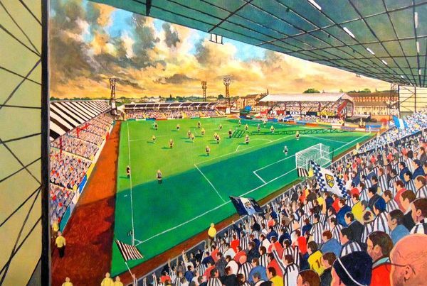 Love Street Stadium Fine Art, former home of St Mirren Football Club. At the Game painted in fine detail by the talented artist James Muddiman captures the atmosphere of Match day perfectly