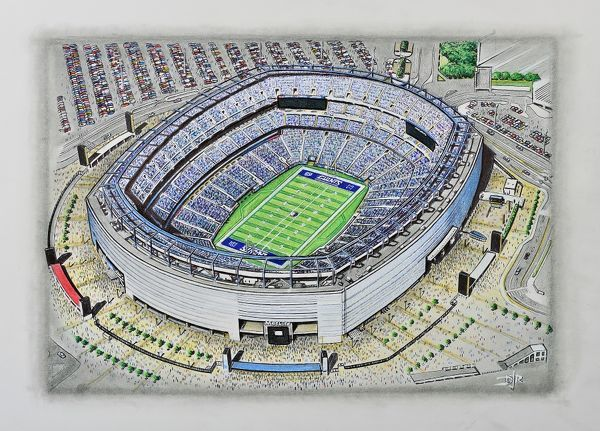 Oil, Ink, Pencil of MetLife Stadium, home of the New York Giants 2010 to present day. Capacity 82, 566. Original painting by D J Rogers