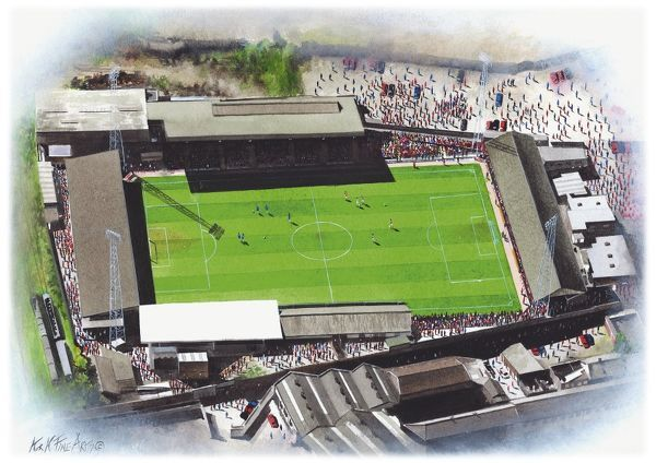 Watercolour of the Millmoor Stadium, former home of Rotherham United F.C., 1907 - 2008. Record Attendance 25.170 v Sheffield United 1952. Original painting created in 2003 by Kevin Fletcher