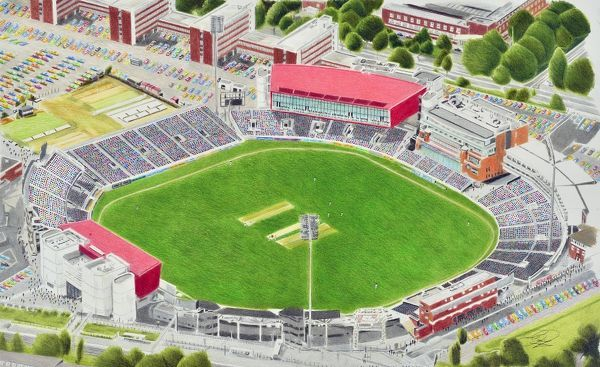 Painting of Old Trafford Cricket Ground, home of Lancashire Cricket Club & England Internationals. 1857 - current day. Capacity 15, 000(Domestic), 26, 000(Internationals). Painting by Brian Casey 2014