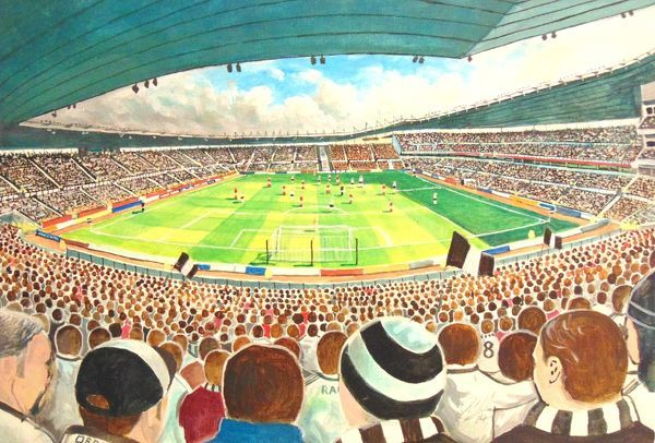 Pride Park Stadium Fine Art, home of Derby County Football Club.'At the Game' painted in fine detail by the talented artist James Muddiman captures the atmosphere of Matchday perfectly