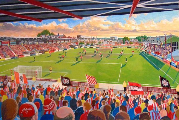 St James' Park Stadium Fine Art, home of Exeter City Football Club. 'At the Game' painted in fine detail by the talented artist James Muddiman captures the atmosphere of Matchday perfectly