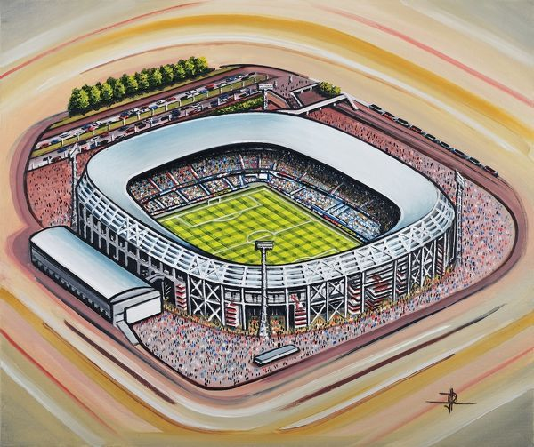 "Oil painting of the Stadion Feijenoord(De Kuip), home of Feyenoord F.C. Netherlands, 1937 - Current day. Capacity 51, 577. Original painting size 22"" x 18"" created in 2013 by DJ Rogers"