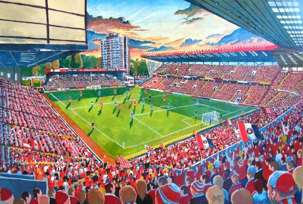 The Valley Stadium Fine Art, home of Charlton Athletic Football Club. 'At the Game' painted in fine detail by the talented artist James Muddiman captures the atmosphere of Matchday perfectly