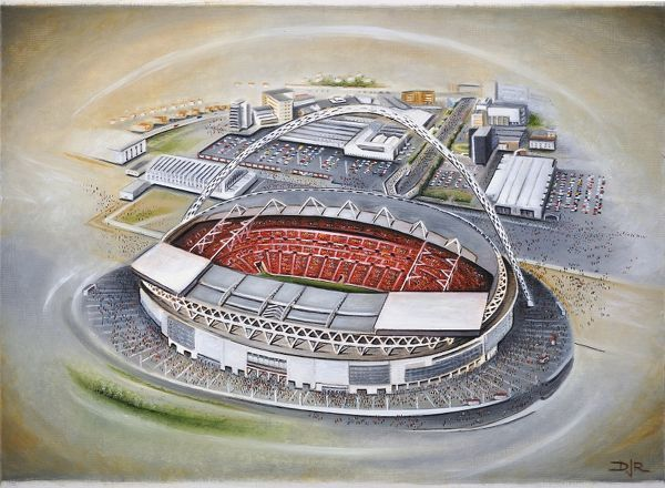 "Oil painting of Wembley Stadium, home of the Football Association(FA) and the England national football team. Capacity 90, 000. Original painting size 22"" x 18"" created in 2012 by D.J.Rogers"