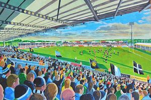 rugby stadia/sandy park stadium fine art exeter chiefs rugby